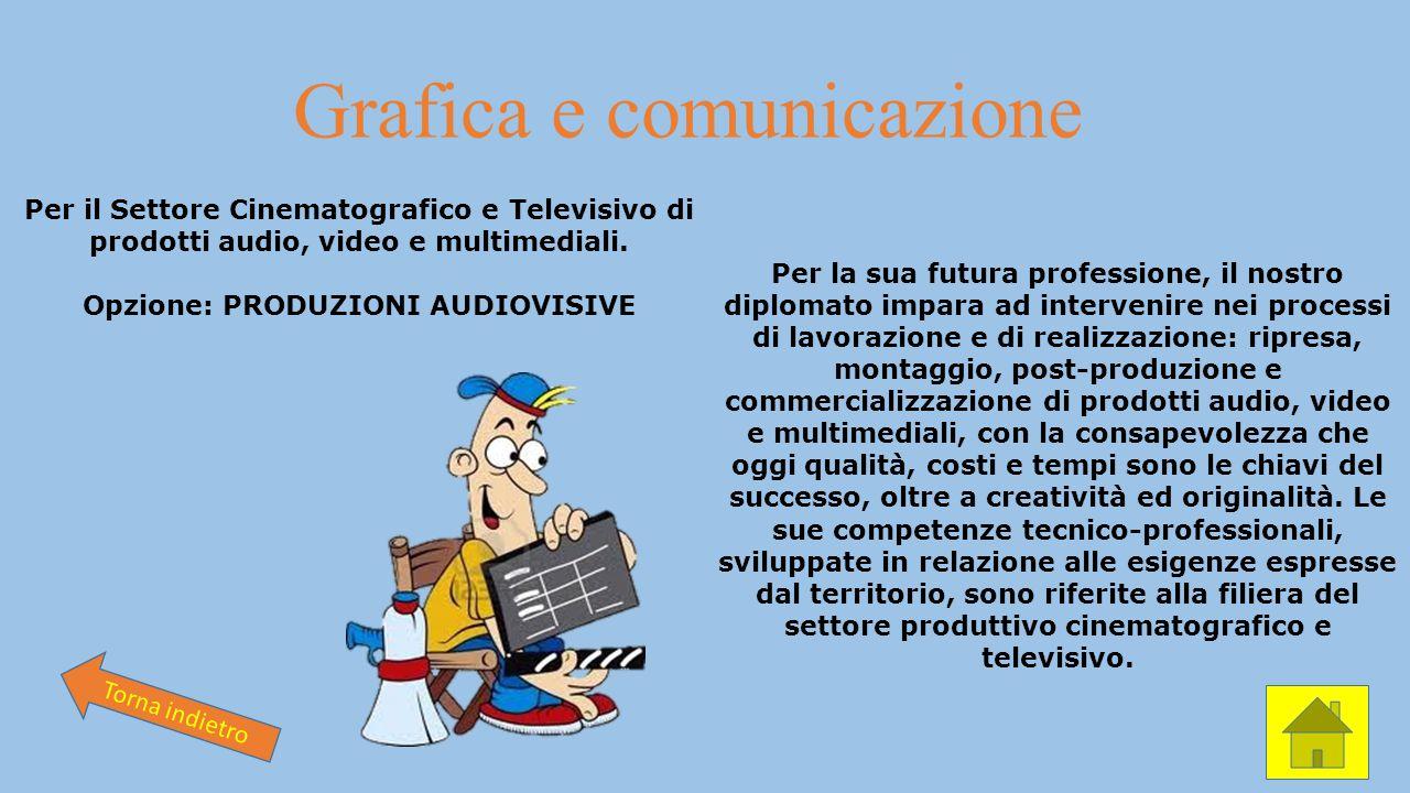 Grafica e comunicazione Per il Settore Cinematografico e Televisivo di prodotti audio, video e multimediali. Opzione: PRODUZIONI AUDIOVISIVE Per la su