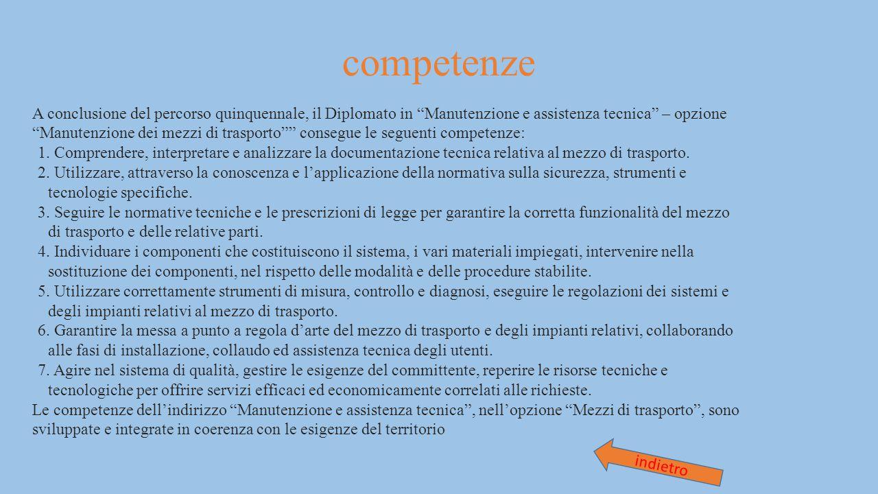 """competenze A conclusione del percorso quinquennale, il Diplomato in """"Manutenzione e assistenza tecnica"""" – opzione """"Manutenzione dei mezzi di trasporto"""