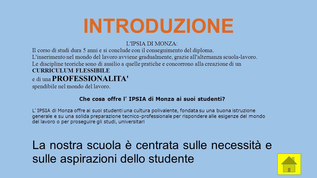 INTRODUZIONE L'IPSIA DI MONZA: Il corso di studi dura 5 anni e si conclude con il conseguimento del diploma. L'inserimento nel mondo del lavoro avvien