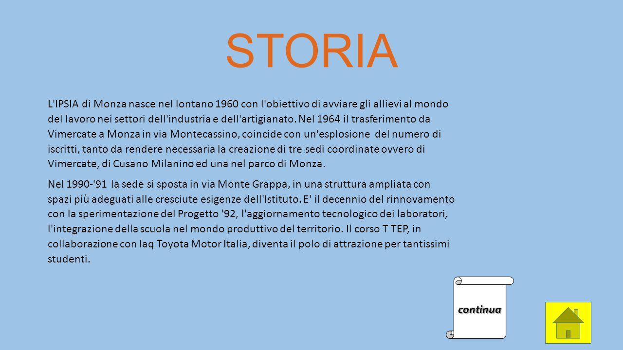 STORIA L'IPSIA di Monza nasce nel lontano 1960 con l'obiettivo di avviare gli allievi al mondo del lavoro nei settori dell'industria e dell'artigianat