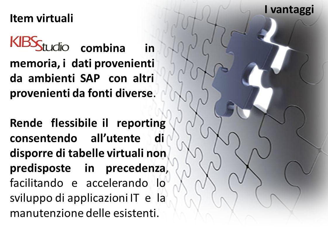 Item virtuali combina in memoria, i dati provenienti da ambienti SAP con altri provenienti da fonti diverse. Rende flessibile il reporting consentendo
