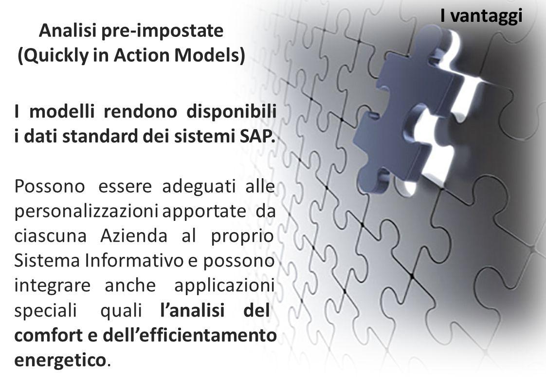 I vantaggi I modelli rendono disponibili i dati standard dei sistemi SAP. Possono essere adeguati alle personalizzazioni apportate da ciascuna Azienda
