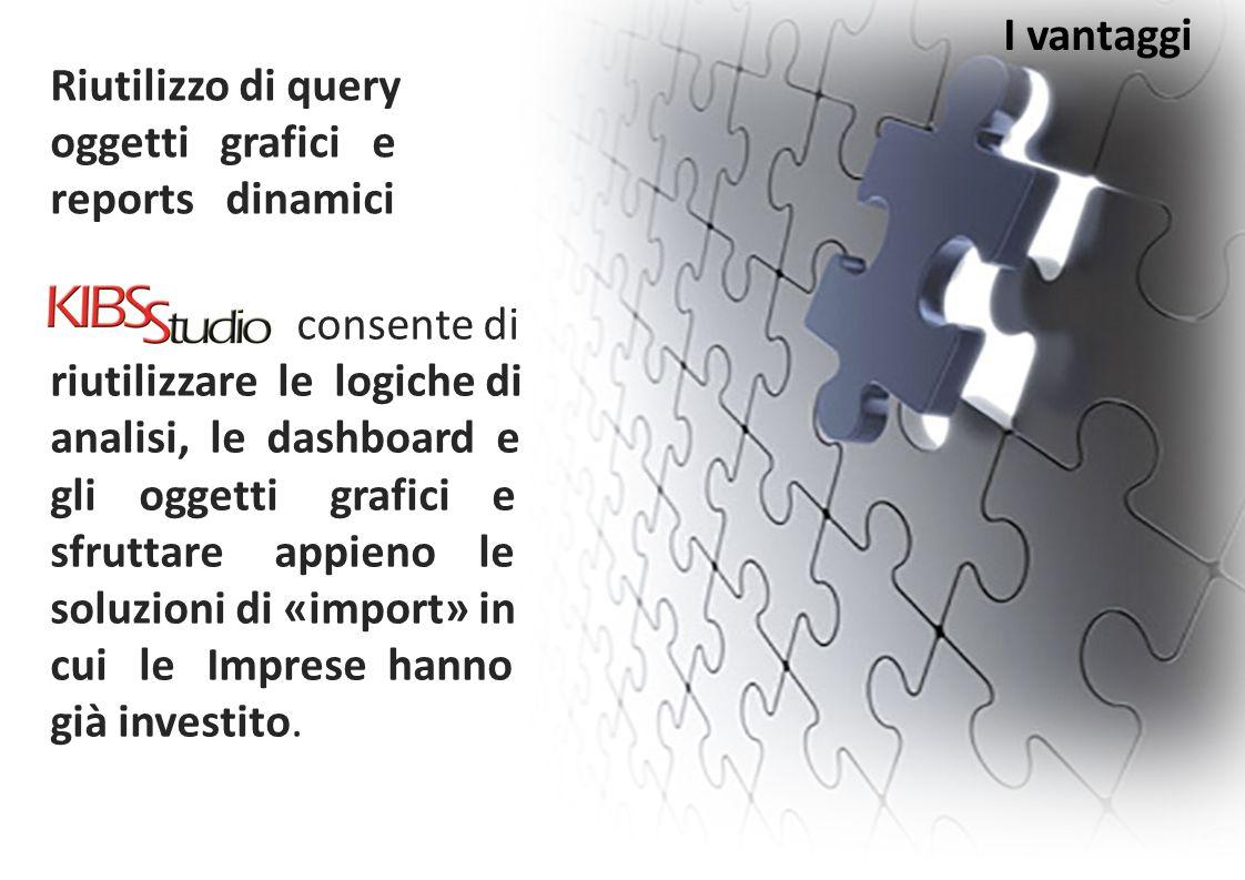 I vantaggi consente di riutilizzare le logiche di analisi, le dashboard e gli oggetti grafici e sfruttare appieno le soluzioni di «import» in cui le I