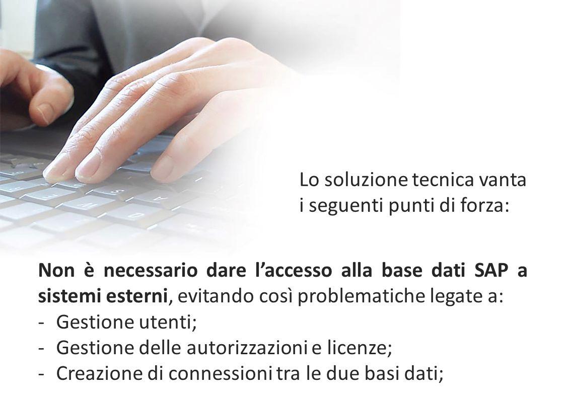 Non è necessario dare l'accesso alla base dati SAP a sistemi esterni, evitando così problematiche legate a: -Gestione utenti; -Gestione delle autorizz