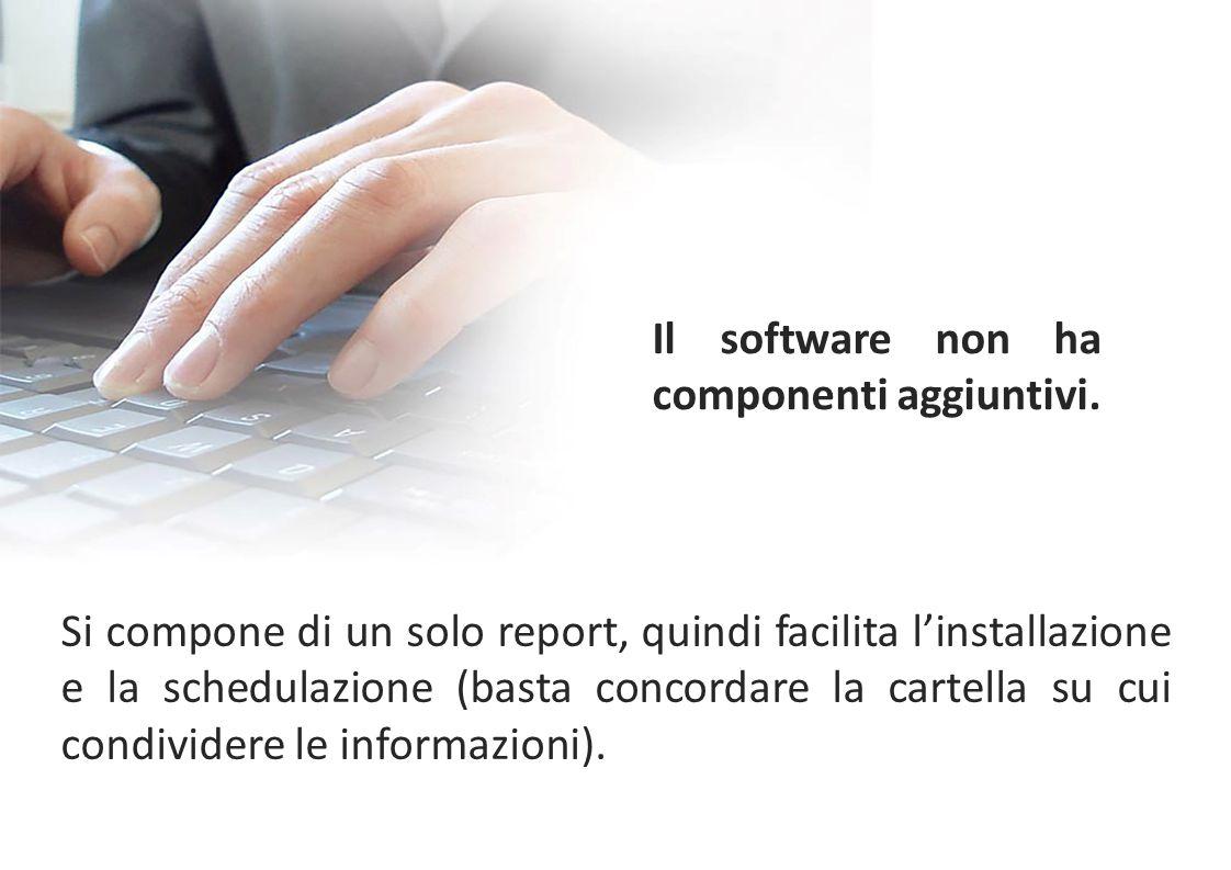Si compone di un solo report, quindi facilita l'installazione e la schedulazione (basta concordare la cartella su cui condividere le informazioni). Il