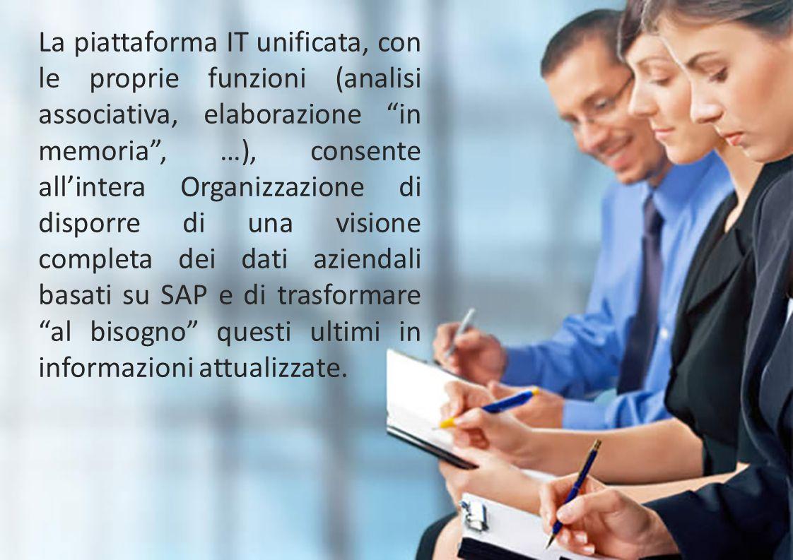 """La piattaforma IT unificata, con le proprie funzioni (analisi associativa, elaborazione """"in memoria"""", …), consente all'intera Organizzazione di dispor"""