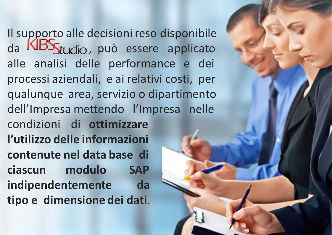 Il supporto alle decisioni reso disponibile da, può essere applicato alle analisi delle performance e dei processi aziendali, e ai relativi costi, per