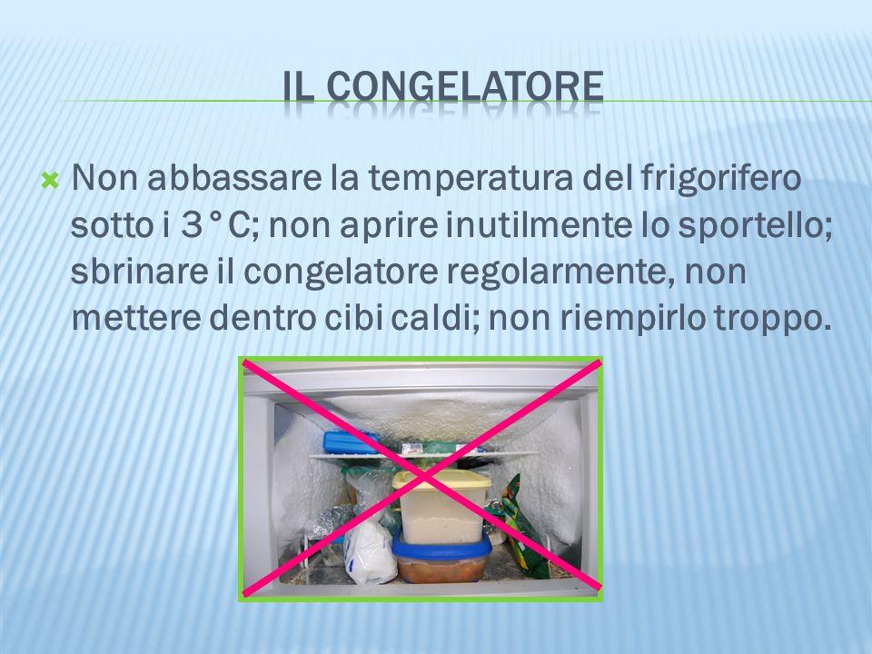  Non abbassare la temperatura del frigorifero sotto i 3°C; non aprire inutilmente lo sportello; sbrinare il congelatore regolarmente, non mettere den