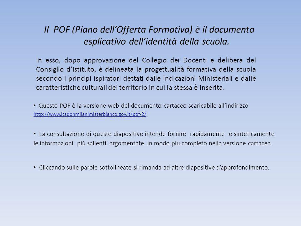 Il POF (Piano dell'Offerta Formativa) è il documento esplicativo dell'identità della scuola.