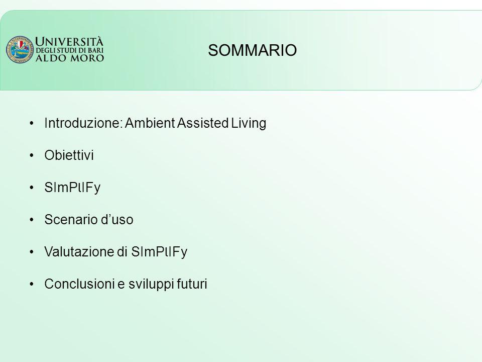 SOMMARIO Introduzione: Ambient Assisted Living Obiettivi SImP l IFy Scenario d'uso Valutazione di SImP l IFy Conclusioni e sviluppi futuri