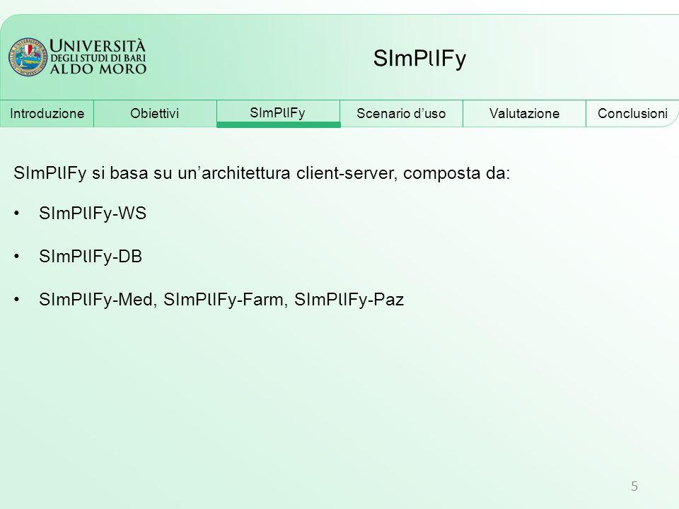 SImP l IFy 5 SImP l IFy si basa su un'architettura client-server, composta da: SImP l IFy-WS SImP l IFy-DB SImP l IFy-Med, SImP l IFy-Farm, SImP l IFy