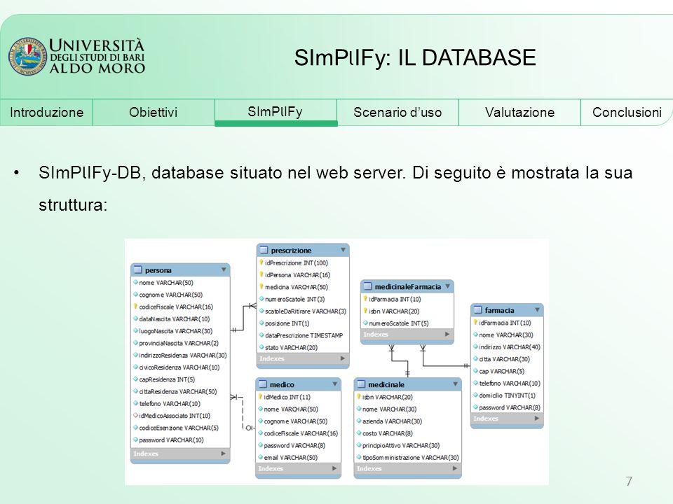 SImP l IFy: IL DATABASE 7 SImP l IFy-DB, database situato nel web server. Di seguito è mostrata la sua struttura: Obiettivi SImP l IFy Scenario d'uso