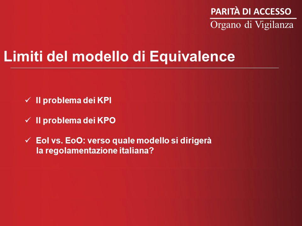 PARITÀ DI ACCESSO Organo di Vigilanza Limiti del modello di Equivalence Il problema dei KPI Il problema dei KPO EoI vs.