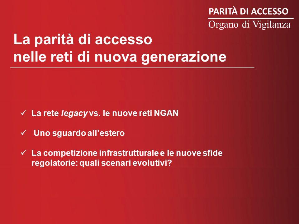 PARITÀ DI ACCESSO Organo di Vigilanza La parità di accesso nelle reti di nuova generazione La rete legacy vs.
