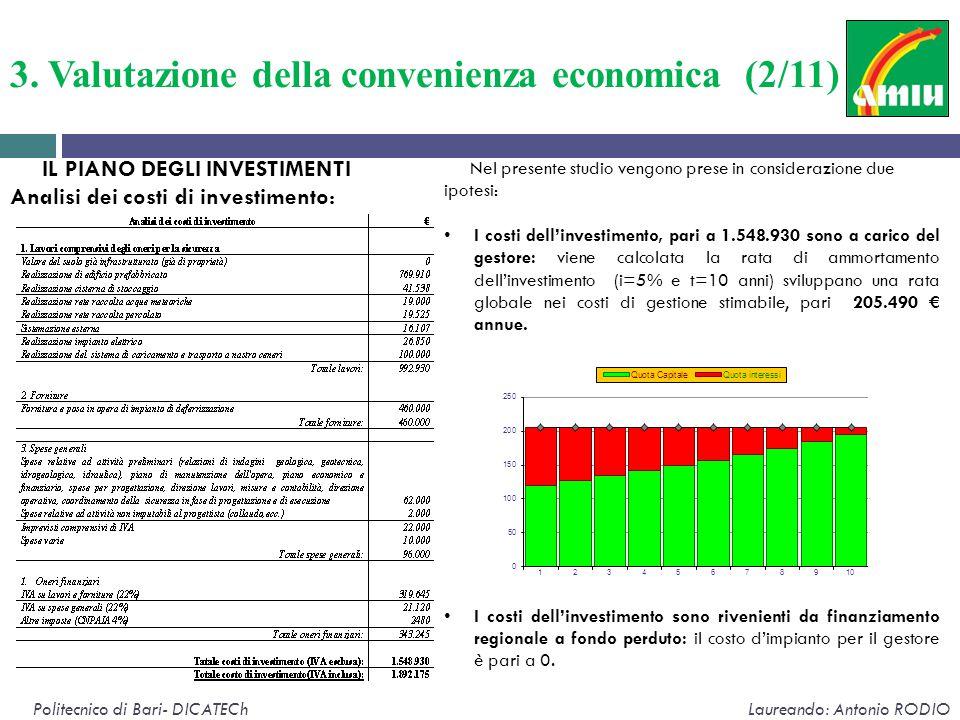 Politecnico di Bari- DICATECh Laureando: Antonio RODIO IL PIANO DEGLI INVESTIMENTI Analisi dei costi di investimento: Nel presente studio vengono pres