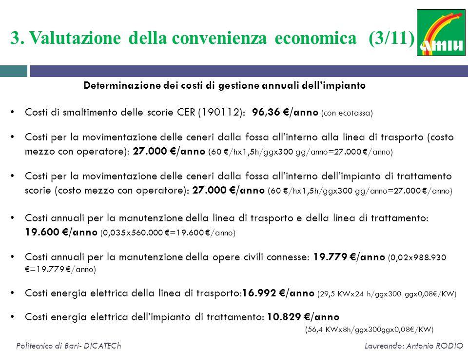 3. Valutazione della convenienza economica (3/11) Politecnico di Bari- DICATECh Laureando: Antonio RODIO Determinazione dei costi di gestione annuali