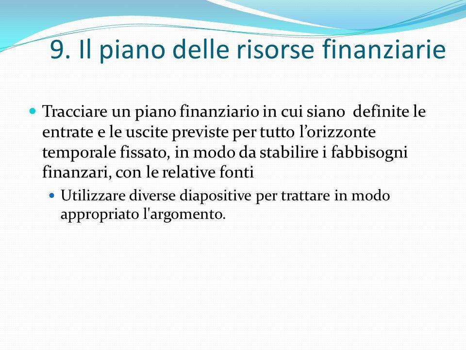 9. Il piano delle risorse finanziarie Tracciare un piano finanziario in cui siano definite le entrate e le uscite previste per tutto l'orizzonte tempo