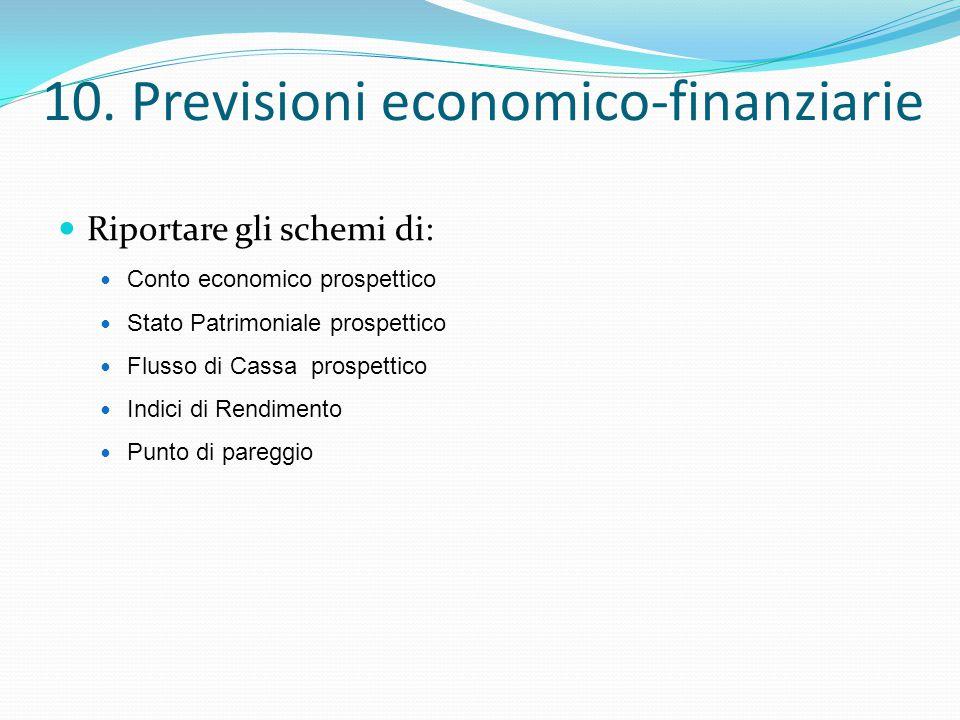 10. Previsioni economico-finanziarie Riportare gli schemi di: Conto economico prospettico Stato Patrimoniale prospettico Flusso di Cassa prospettico I