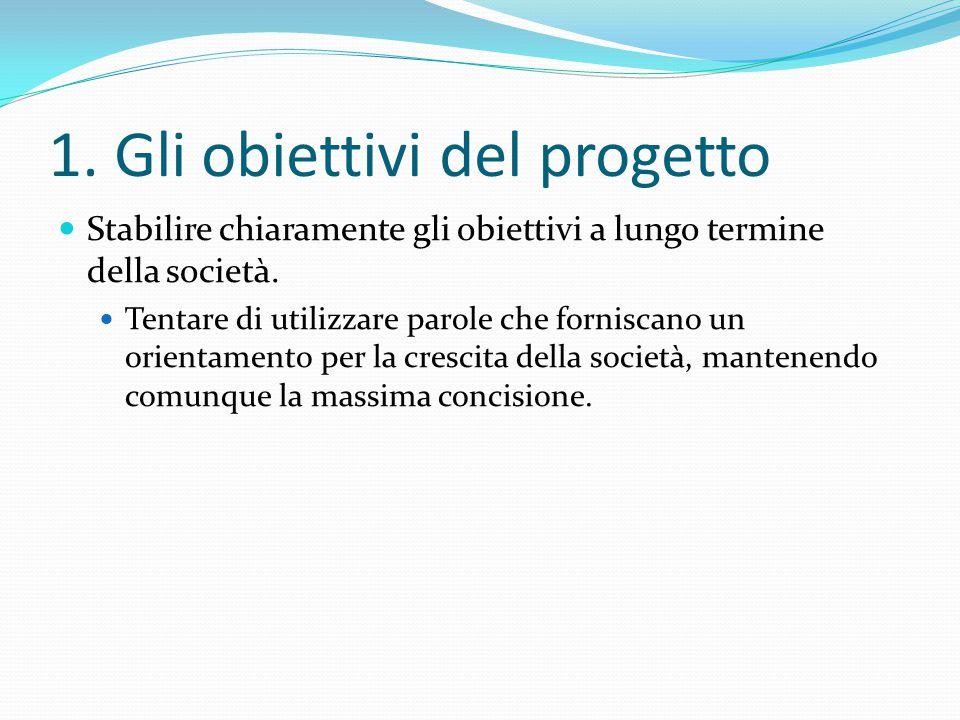 1.Gli obiettivi del progetto Stabilire chiaramente gli obiettivi a lungo termine della società.