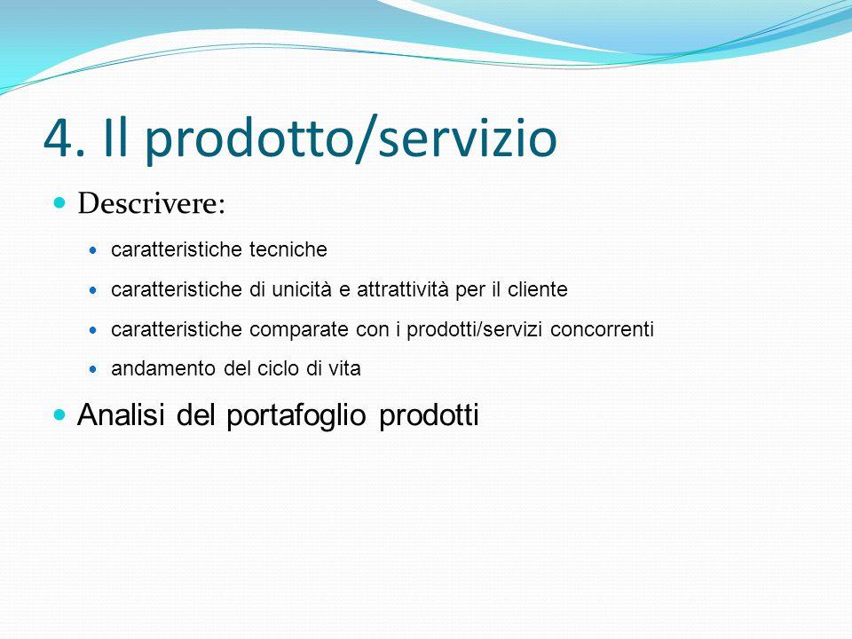 4. Il prodotto/servizio Descrivere: caratteristiche tecniche caratteristiche di unicità e attrattività per il cliente caratteristiche comparate con i