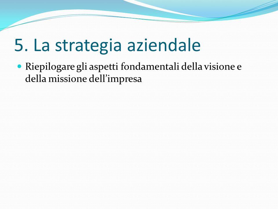 5. La strategia aziendale Riepilogare gli aspetti fondamentali della visione e della missione dell'impresa
