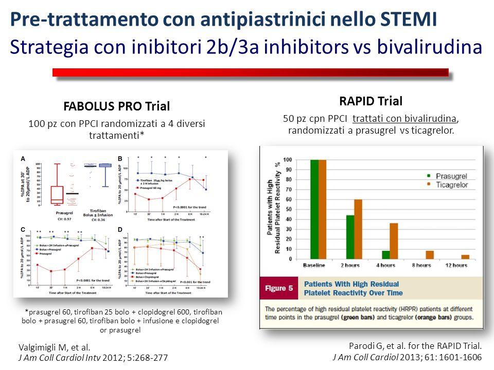 Prasugrel vs Tirofiban HBD in PCI for STEMI Valgimigli M, et al. J Am Coll Cardiol Intv 2012; 5:268-277 Pre-trattamento con antipiastrinici nello STEM