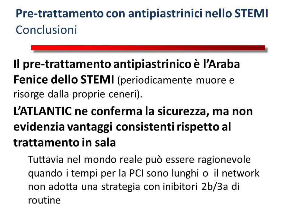 Pre-trattamento con antipiastrinici nello STEMI Conclusioni Il pre-trattamento antipiastrinico è l'Araba Fenice dello STEMI (periodicamente muore e ri