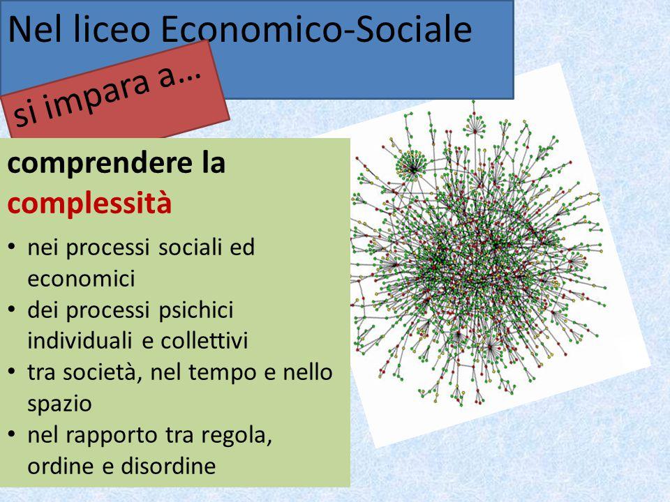 Nel liceo Economico-Sociale si impara a… comprendere la complessità nei processi sociali ed economici dei processi psichici individuali e collettivi tra società, nel tempo e nello spazio nel rapporto tra regola, ordine e disordine
