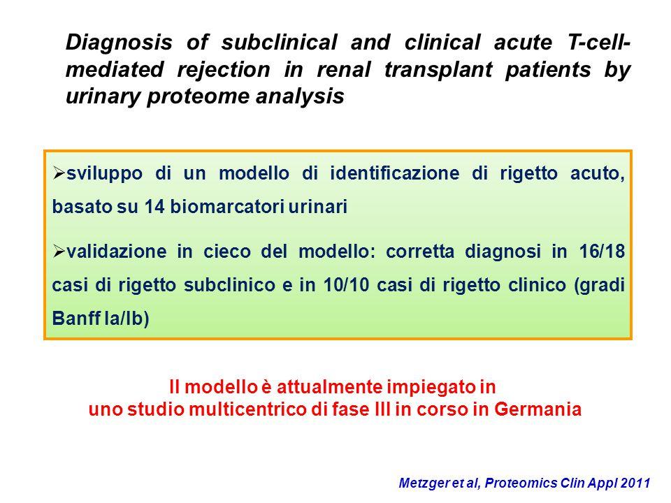  sviluppo di un modello di identificazione di rigetto acuto, basato su 14 biomarcatori urinari  validazione in cieco del modello: corretta diagnosi
