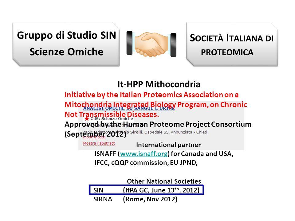 Gruppo di Studio SIN Scienze Omiche S OCIETÀ I TALIANA DI PROTEOMICA It-HPP Mithocondria Initiative by the Italian Proteomics Association on a Mitocho