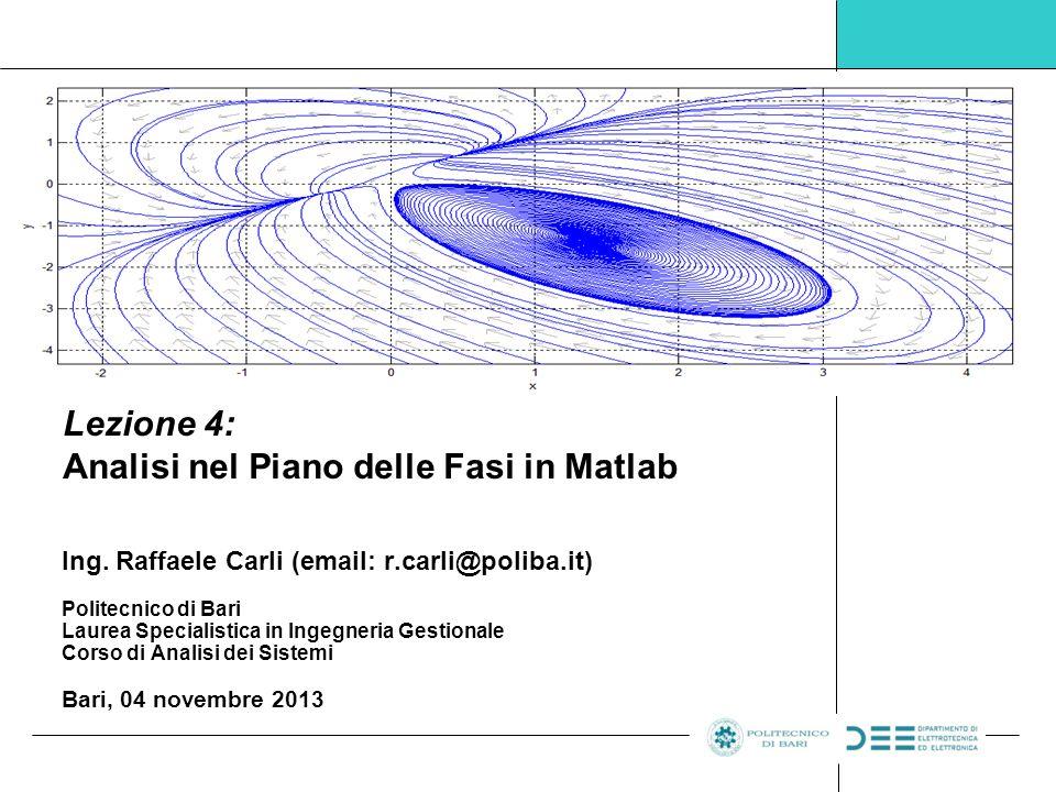 Pag.12 – Ing. R. Carli Laboratorio di Analisi dei Sistemi - Politecnico di Bari, A.A.