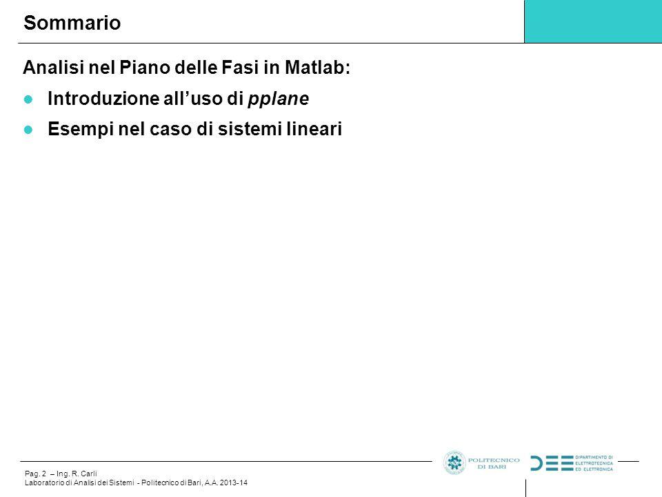 Pag.13 – Ing. R. Carli Laboratorio di Analisi dei Sistemi - Politecnico di Bari, A.A.
