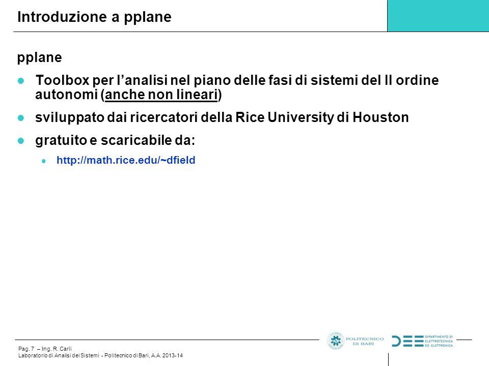 Pag.8 – Ing. R. Carli Laboratorio di Analisi dei Sistemi - Politecnico di Bari, A.A.