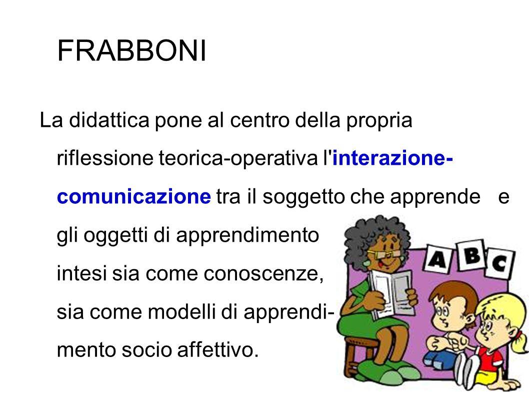 FRABBONI La didattica pone al centro della propria riflessione teorica-operativa l'interazione- comunicazione tra il soggetto che apprende e gli ogget