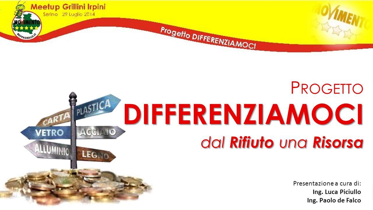 P ROGETTODIFFERENZIAMOCI dal Rifiuto una Risorsa Presentazione a cura di: Ing. Luca Piciullo Ing. Paolo de Falco