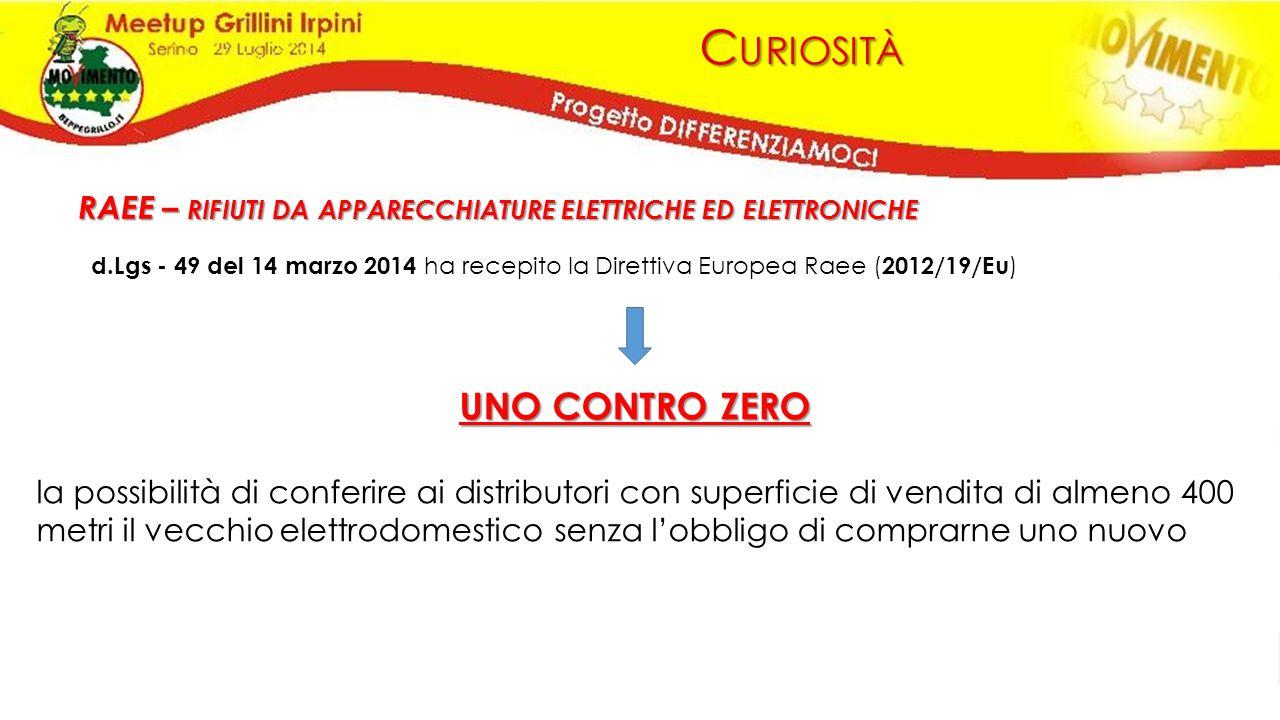 C URIOSITÀ RAEE – RIFIUTI DA APPARECCHIATURE ELETTRICHE ED ELETTRONICHE d.Lgs - 49 del 14 marzo 2014 ha recepito la Direttiva Europea Raee ( 2012/19/E