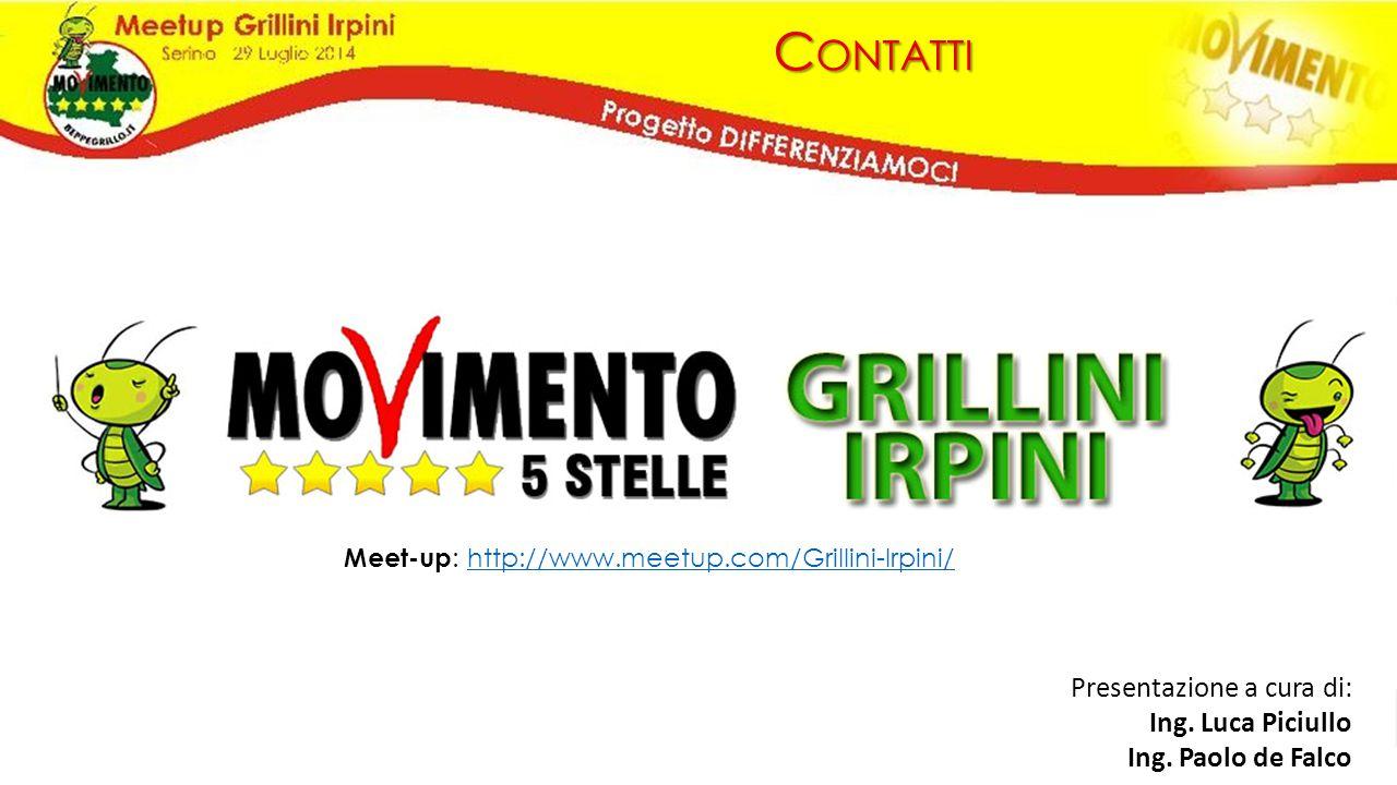 C ONTATTI Meet-up : http://www.meetup.com/Grillini-Irpini/http://www.meetup.com/Grillini-Irpini/ Presentazione a cura di: Ing. Luca Piciullo Ing. Paol