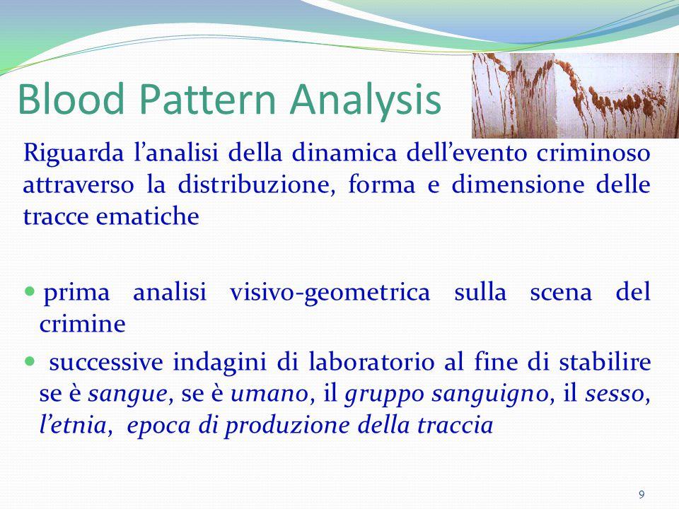 Blood Pattern Analysis Riguarda l'analisi della dinamica dell'evento criminoso attraverso la distribuzione, forma e dimensione delle tracce ematiche p