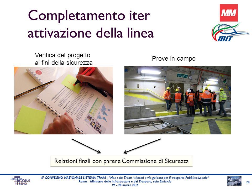 """Completamento iter attivazione della linea 20 6° CONVEGNO NAZIONALE SISTEMA TRAM - """"Non solo Tram: I sistemi a via guidata per il trasporto Pubblico L"""