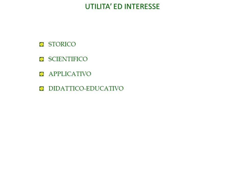 UTILITA' ED INTERESSE STORICO SCIENTIFICO APPLICATIVO DIDATTICO-EDUCATIVO