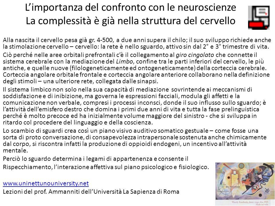L'importanza del confronto con le neuroscienze La complessità è già nella struttura del cervello Alla nascita il cervello pesa già gr. 4-500, a due an