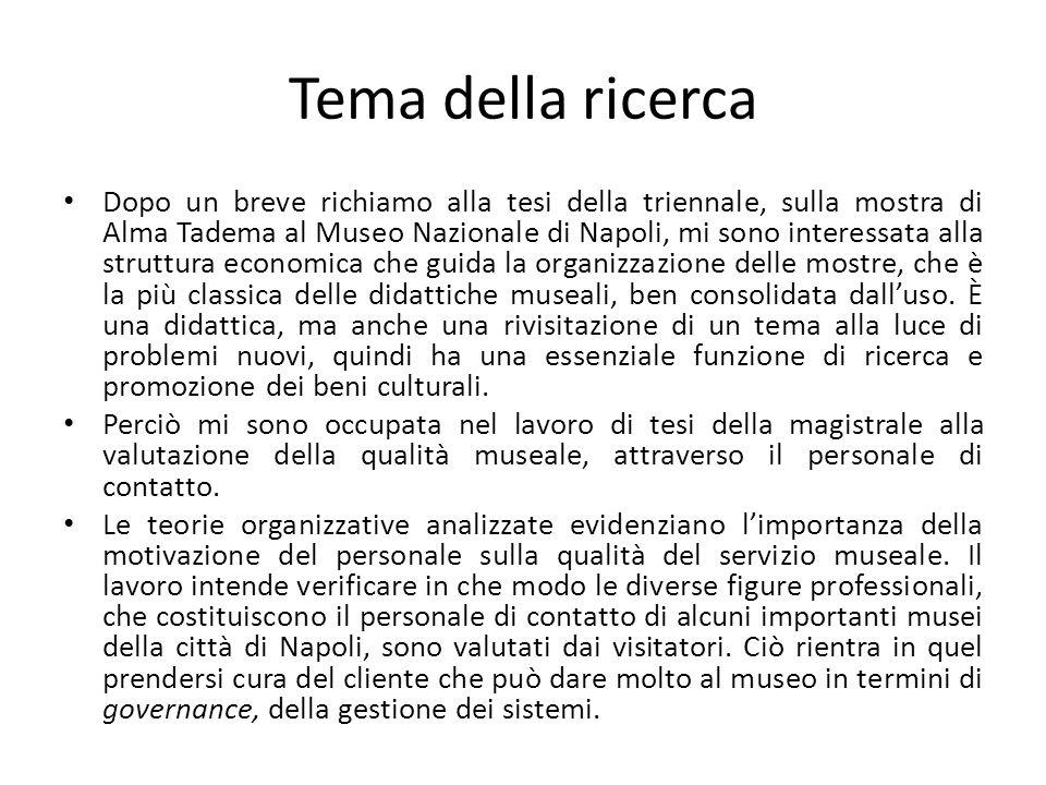 Tema della ricerca Dopo un breve richiamo alla tesi della triennale, sulla mostra di Alma Tadema al Museo Nazionale di Napoli, mi sono interessata all