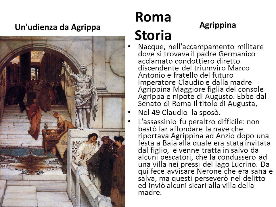 Roma Storia Un'udienza da Agrippa Agrippina Nacque, nell'accampamento militare dove si trovava il padre Germanico acclamato condottiero diretto discen