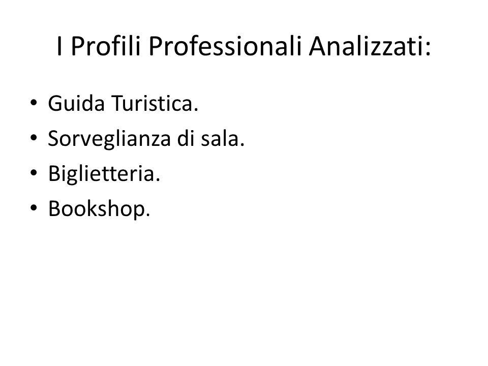 I Profili Professionali Analizzati: Guida Turistica. Sorveglianza di sala. Biglietteria. Bookshop.
