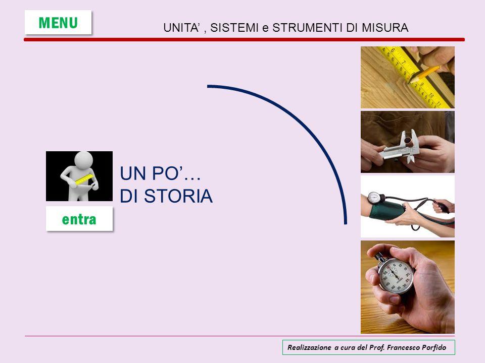 UNITA', SISTEMI e STRUMENTI DI MISURA UN PO'… DI STORIA MENU entra Realizzazione a cura del Prof. Francesco Porfido
