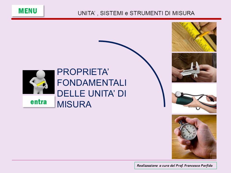 UNITA', SISTEMI e STRUMENTI DI MISURA PROPRIETA' FONDAMENTALI DELLE UNITA' DI MISURA MENU entra Realizzazione a cura del Prof. Francesco Porfido