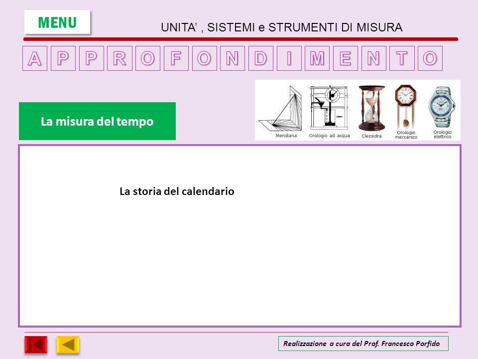 La storia del calendario La misura del tempo MENU UNITA', SISTEMI e STRUMENTI DI MISURA Realizzazione a cura del Prof. Francesco Porfido