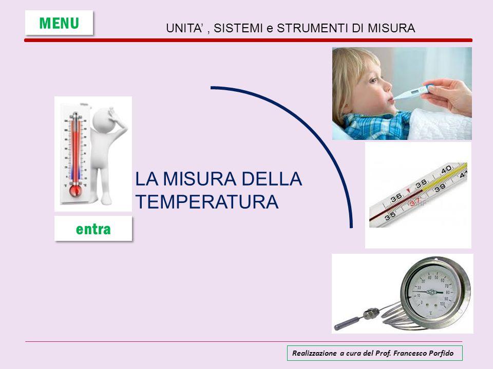 UNITA', SISTEMI e STRUMENTI DI MISURA LA MISURA DELLA TEMPERATURA MENU entra Realizzazione a cura del Prof. Francesco Porfido