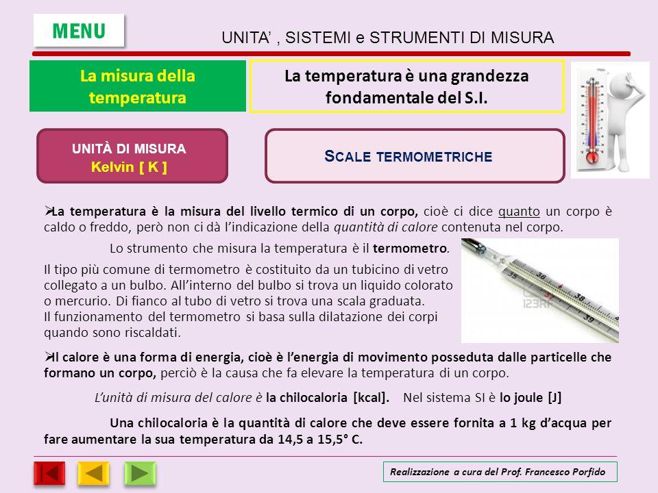 La misura della temperatura LLa temperatura è la misura del livello termico di un corpo, cioè ci dice quanto un corpo è caldo o freddo, però non ci
