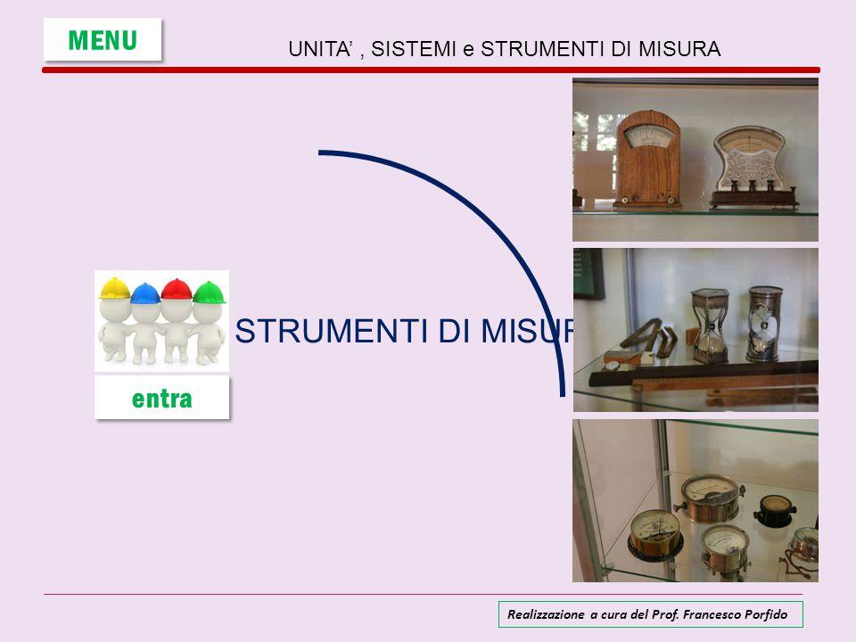 UNITA', SISTEMI e STRUMENTI DI MISURA STRUMENTI DI MISURA MENU entra Realizzazione a cura del Prof. Francesco Porfido
